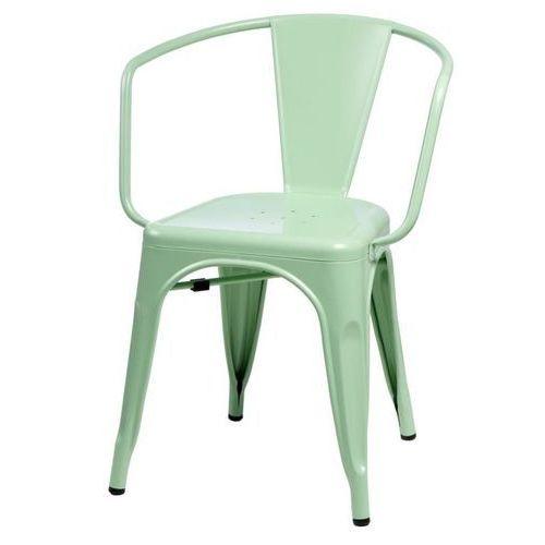 Krzesło Paris Arms inspirowane Tolix - zielony, kolor zielony