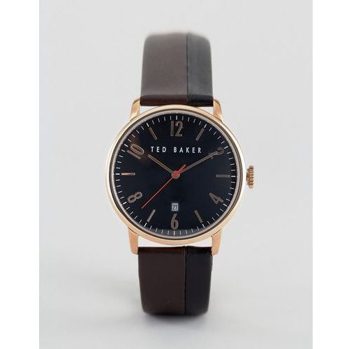 classic brown leather watch with rose gold/black dial - brown marki Ted baker