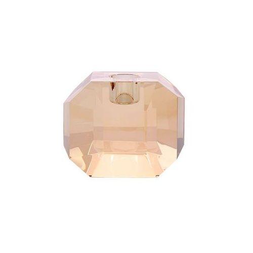 HK Living Świecznik ze szkła kryształowego bursztynowy AKA3340