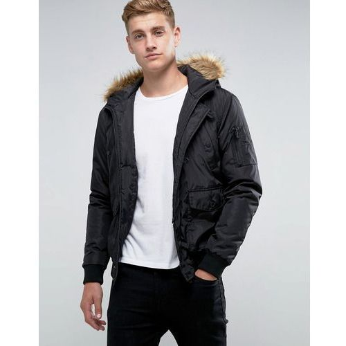 French Connection Short Padded Parka with Faux Fur Hood - Black