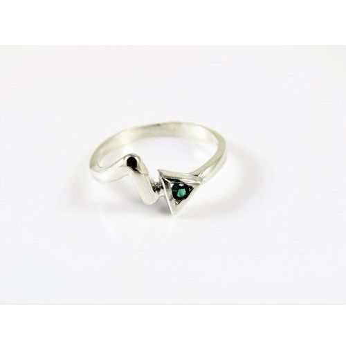 Srebrny pierścionek 925 ZIELONE OCZKO r. 15, kolor zielony