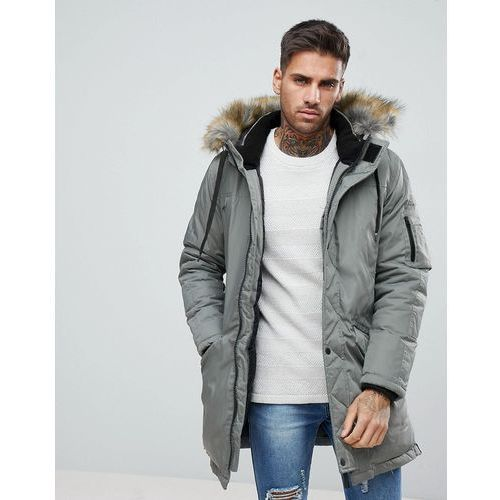 Bershka parka with faux fur hood in khaki - green