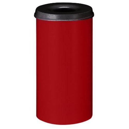 Bezpieczny kosz na papier, poj. 50 l, wys. 625 mm, czerwony. Korpus z blachy sta