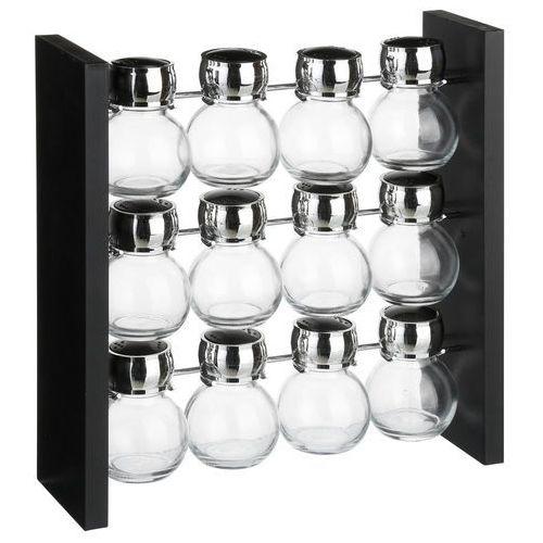 Pojemniki na przyprawy na stojaku, zestaw 12 sztuk słoiczków ze szkła marki Secret de gourmet