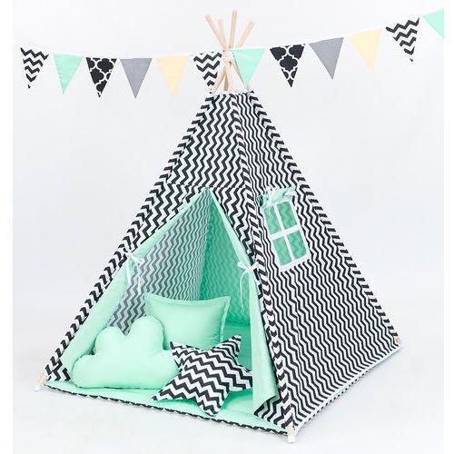 Mamo-tato namiot tipi z matą i poduszkami zygzak czarny / miętowy