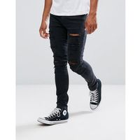 River Island Super Skinny Jeans With Extreme Rips In Black Wash - Black, kolor czarny