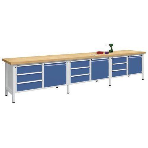 Stół warsztatowy, bardzo szeroki,3 drzwi, 9 szuflad z pełnym wysunięciem marki Anke werkbänke - anton kessel