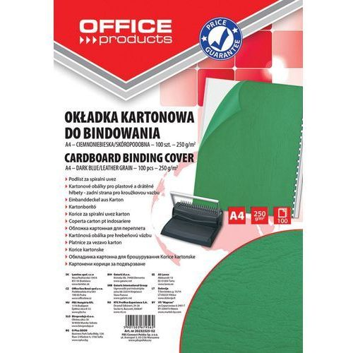Okładki do bindowania OFFICE PRODUCTS, karton, A4, 250gsm, skóropodobne, 100szt., zielone (5901503684047)