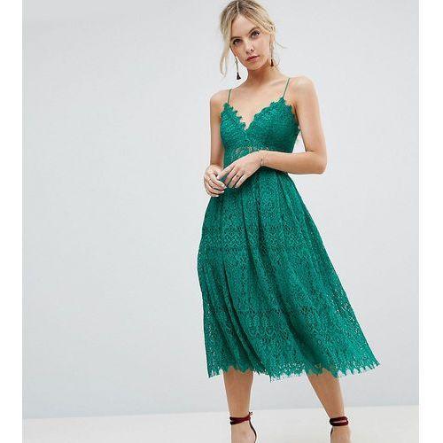 lace cami midi prom dress - green marki Asos petite