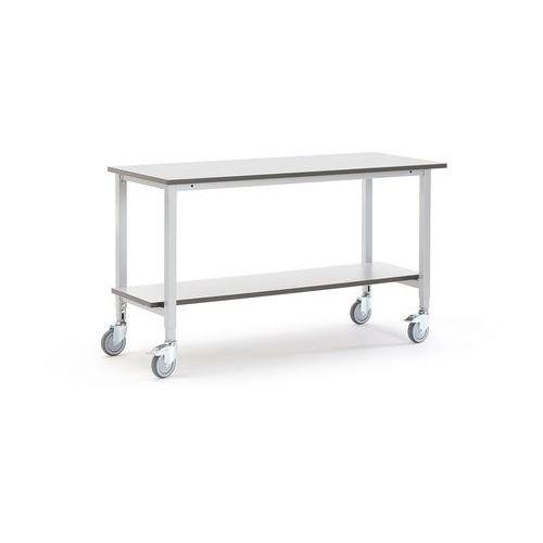 Mobilny stół roboczy MOTION, 1500x600 mm, z półką dolną, szary, 2740721