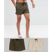 ASOS Swim Shorts 2 Pack In Khaki & Stone Mid Length SAVE - Multi