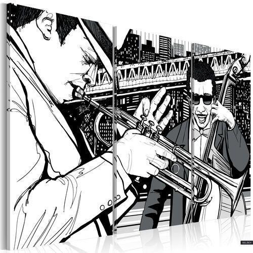 obraz - koncert jazzowy na tle nowojorskich wieżowców 120x80 cm marki Selsey