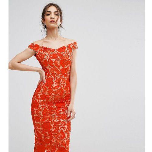 lace off the shoulder midi pencil dress - red marki Boohoo