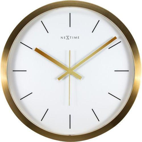 Nextime - Zegar ścienny Stripe - biały - 44 cm