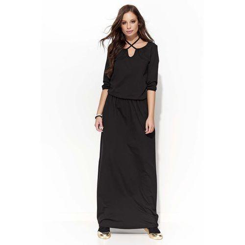 Makadamia Czarna długa sukienka z wiązaniem na szyji