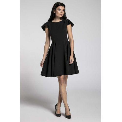 Czarna Rozkloszowana Sukienka z Rękawkiem Typu Motylek, w 6 rozmiarach