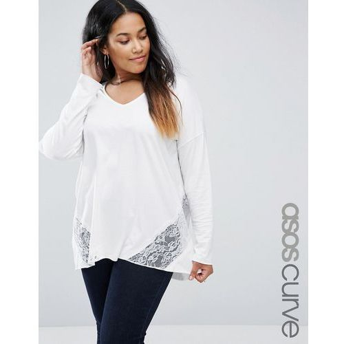 top with lace panels and long sleeve in oversized fit - cream, marki Asos curve