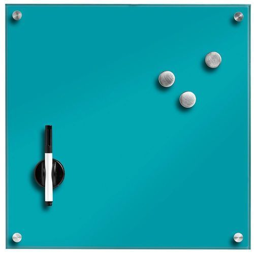 Zeller Szklana tablica magnetyczna memo, turkusowa + 3 magnesy, 40x40 cm, (4003368116495)
