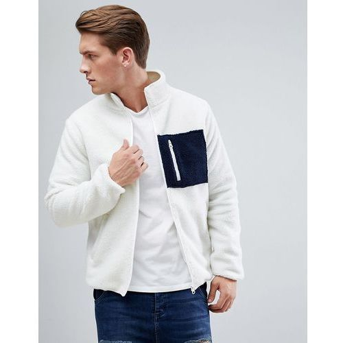 borg pocket zip through jacket - white marki D-struct
