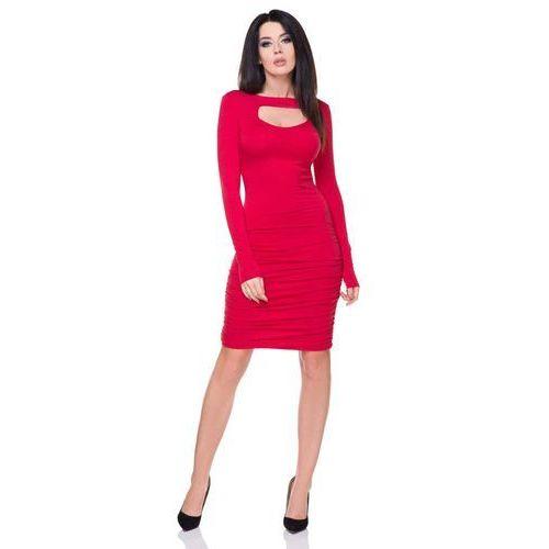 Czerwona Marszczona Sukienka Bodycon z Wyciętym Dekoltem, kolor czerwony