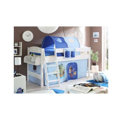 Ticaa łóżko z drabinką kenny sosna biała pirat/jasnoniebieski-ciemnoniebieski, marki Ticaa kindermöbel