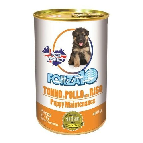 Forza10 Maintenance Puppy pasztet 5x400g + 400g GRATIS (2,4kg) dla szczeniąt: smak - tuńczyk z kurczakiem i ryżem DOSTAWA 24h GRATIS od 99zł (8020245708662)