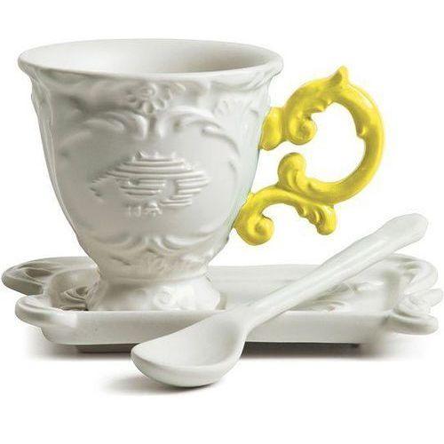 Filiżanka do kawy ze spodkiem i łyżeczką i-coffee żółta marki Seletti