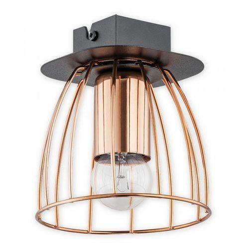 Lemir Reda O2681 P1 CZA plafon lampa sufitowa 1x60W E27 czarny mat / miedź, O2681 P1 CZA