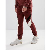 tapered fit jogger in suedette with contrast panels - red, Religion, XS-XL
