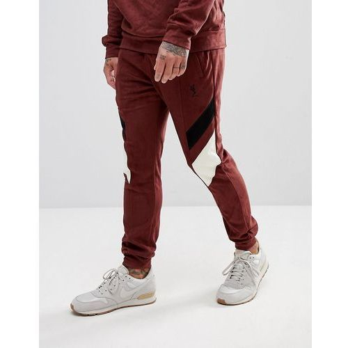 Religion Tapered Fit Jogger In Suedette With Contrast Panels - Red