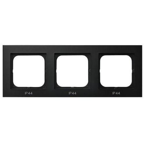 Ramka potrójna Ospel Sonata RH-3R/33 do łączników IP44 czarny metalik (5907577446918)