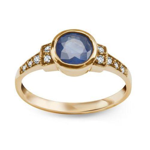 Kolekcja Wiktoriańska - pierścionek z szafirem i diamentami