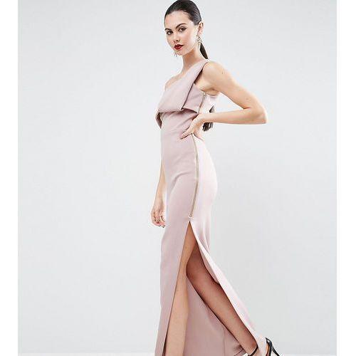 scuba one shoulder fold maxi dress with exposed zip - pink marki Asos tall