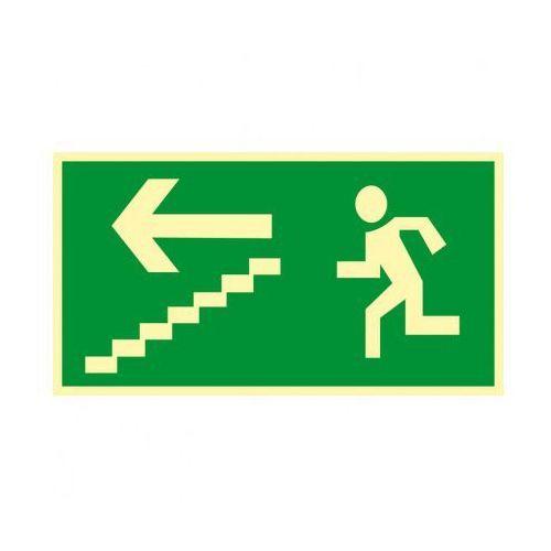 Kierunek drogi ewakuacyjnej schodami w dół w lewo