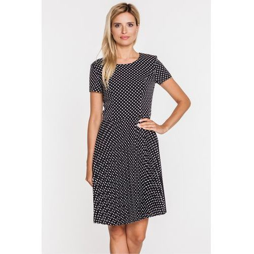 Sukienka w groszki z plisowanym dołem - Bialcon, plisowana