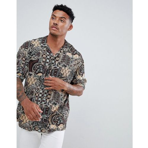 Pull&bear shirt in aztec print with revere collar - multi