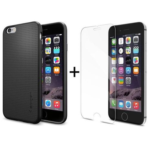 Zestaw | Obudowa Spigen Capsule Czarna + Szkło ochronne Perfect Glass dla modelu Apple iPhone 6 / 6S