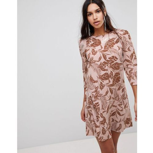 Y.A.S Autumn Floral Velvet Burnout Shift Dress - Pink