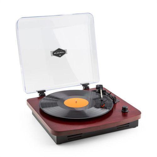 auna TT370 Gramofon w stylu retro z wbudowanymi głośnikami USB MP3 AUX drewno wiśniowe