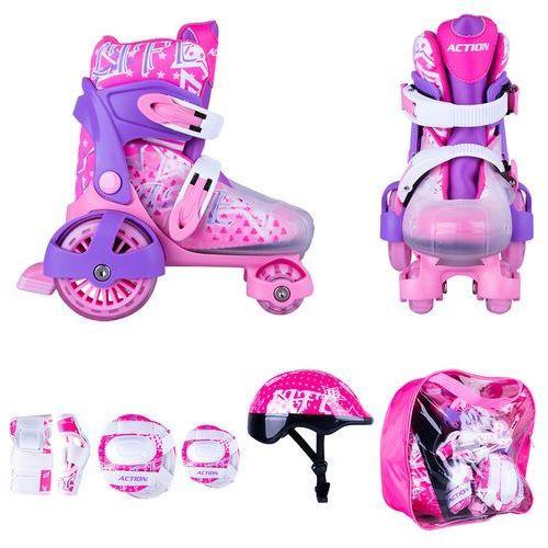 Zestaw dziecięcy: regulowane wrotki, kask, ochraniacze, torba action darly girl, fioletowy/biały, xs 26-29 marki Worker