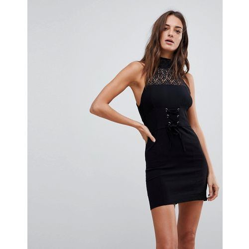 Free People High Society Lace Neck Bodycon Dress - Black, w 3 rozmiarach