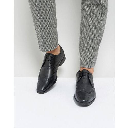 Silver Street Smart Brogues in Milled Black Leather - Black