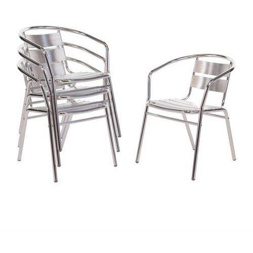 Krzesła aluminiowe sztaplowane | 4 szt. | 53x58x(H)73,5cm