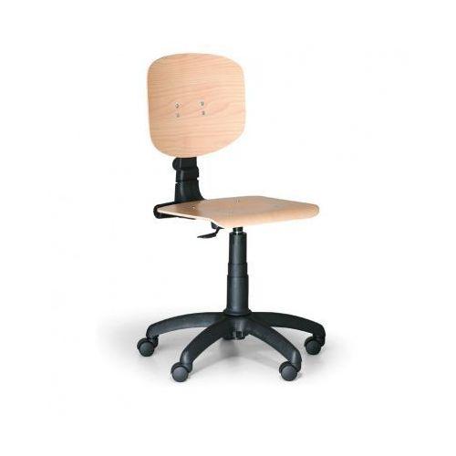 B2b partner Drewniane krzesło pracownicze - plastikowy krzyż, kółka