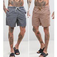 Asos swim shorts in acid wash stone & black in mid length 2 pack save - multi