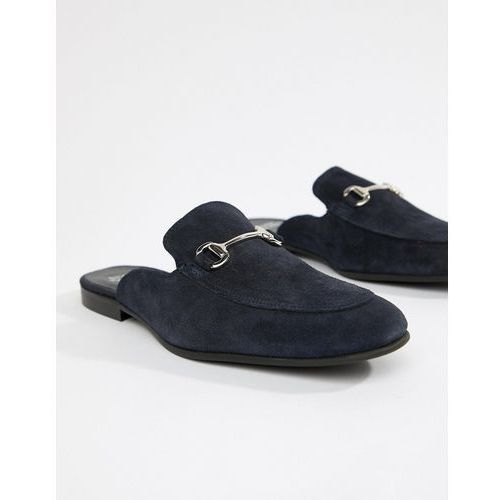 River Island Suede Backless Loafer In Navy - Navy
