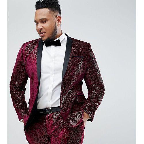 Asos edition plus super skinny tuxedo suit jacket in allover burgundy sequin - red