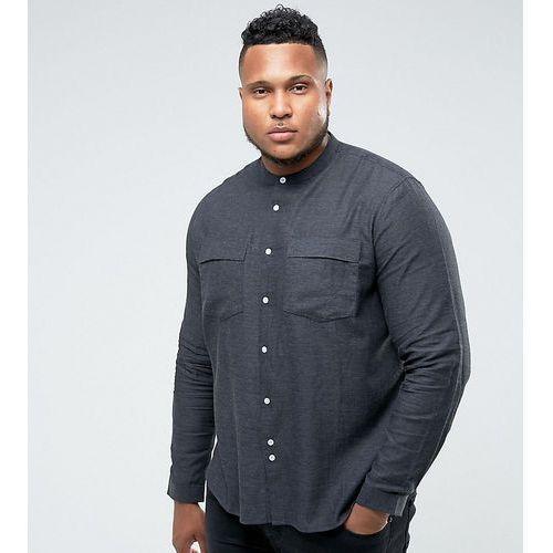 Bellfield PLUS Shirt In Grandad Collar With Pockets - Grey
