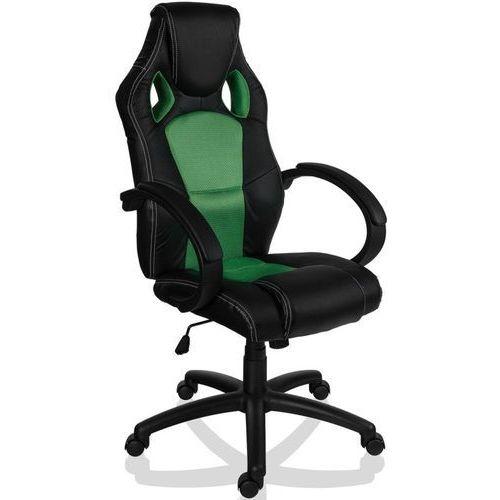 Sportowy czarno zielony fotel obrotowy biurowy - czarno - zielony marki Makstor.pl
