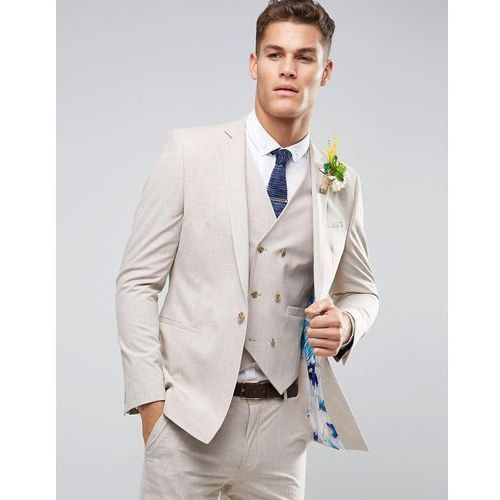 ASOS WEDDING Skinny Suit Jacket in Crosshatch Nep With Floral Print Lining - Grey